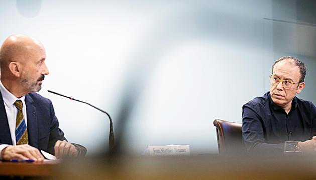 El ministre de Salut i el president del Col·legi de Metges en una compareixença conjunta.