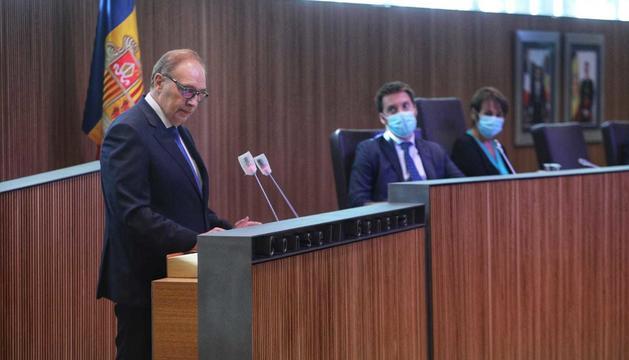 Josep Pintat, durant la seva rèplica al Debat d'Orientació Política d'aquest matí.