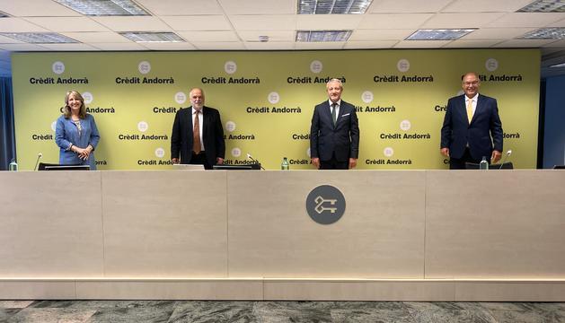 Montse Guardia, Josep Maria Rosanas, Joan R. Mas, i Albert Fernández, en la presentació de la nova Càtedra.