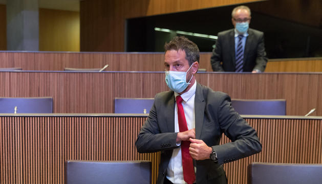 El president del grup del PS, Pere López, en el debat sobre l'adhesió a l'FMI