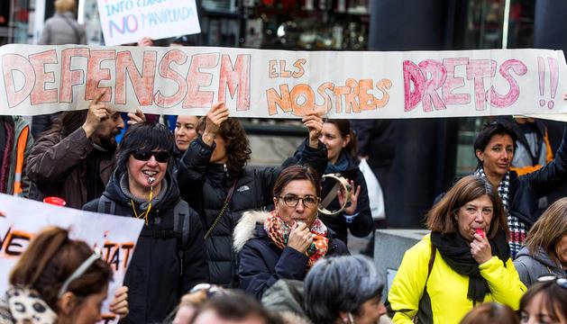 Treballadors durant una manifestació.