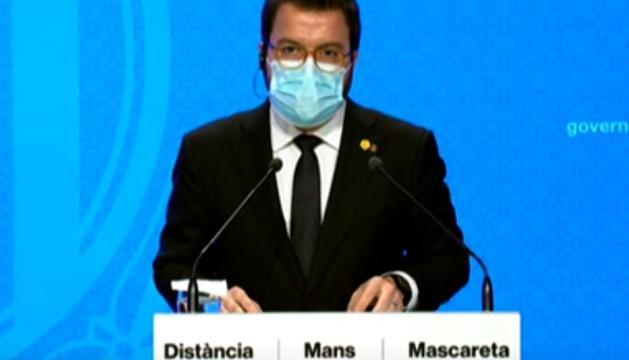 El vicepresident de la Generalitat en funcions, Pere Aragonès, durant la roda de premsa