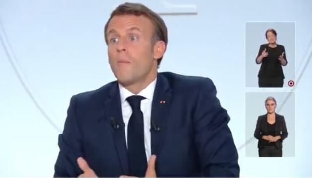 El president de la República francesa, Emmanuel Macron, durant l'entrevista