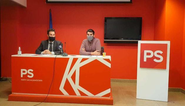 Gerard Alís i Pere Baró, en la roda de premsa d'aquesta tarda