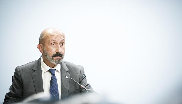 El ministre de Salut, Joan Martínez Benazet, en roda de premsa.