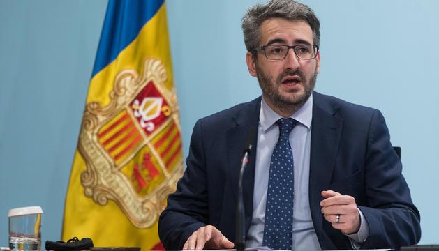 El ministre Eric Jover durant la roda de premsa posterior al consell de ministres