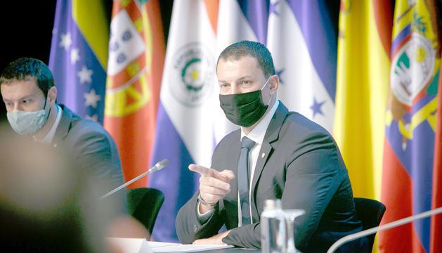 El ministre Gallardo durant la reunió de la Cimera Iberoamericana d'ahir.