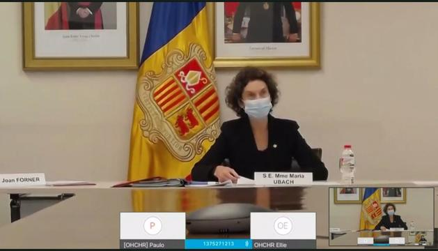 Maria Ubach durant la intervenció telemàtica a l'ONU