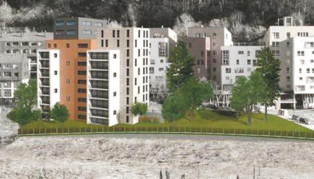 Imatge virtual de la promoció d'habitatge públic que s'ha de fer a Andorra la Vella.