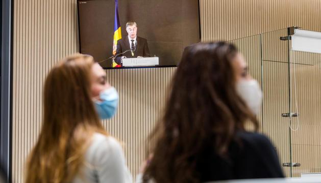 Els periodistes van haver de seguir en una sala annexa l'acte d'obertura de l'any judicial.