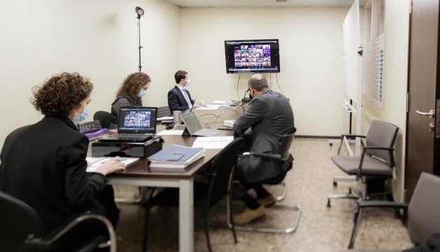 La delegació andorrana, durant la trobada telemàtica