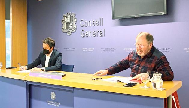 Pere López i Jordi Font durant la roda de premsa.
