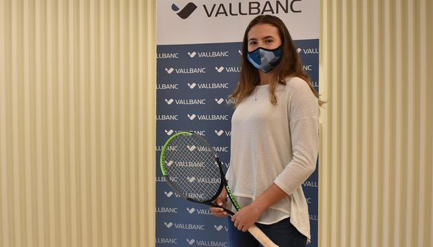 La tenista Vicky Jiménez durant l'acte d'avui