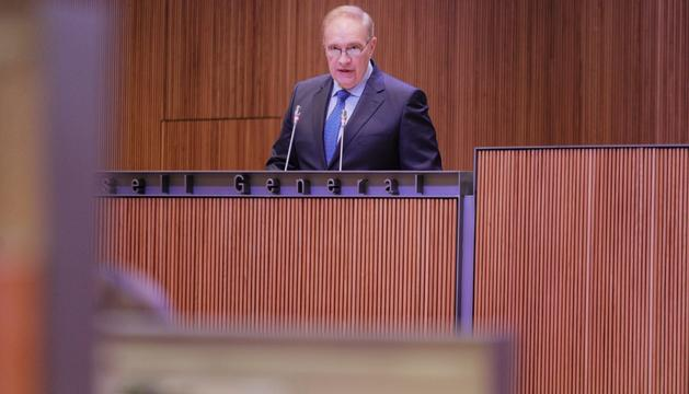 Josep Pintat durant la intervenció avui al Consell