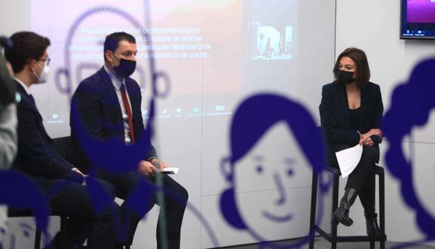 Els ministres Jordi Gallardo i Verònica Canals durant la presentació del projecte