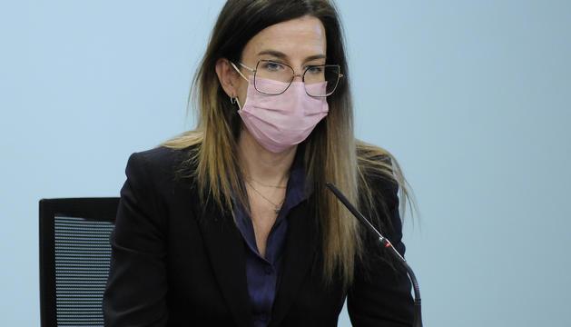 La ministra Sílvia Riva durant la presentació de les subvencions culturals per al 2021