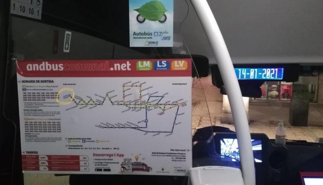 Una imatge del plànol del bus comunal d'Andorra la Vella