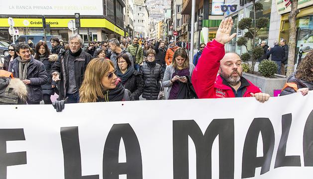 Una manifestació convocada pels sindicats.
