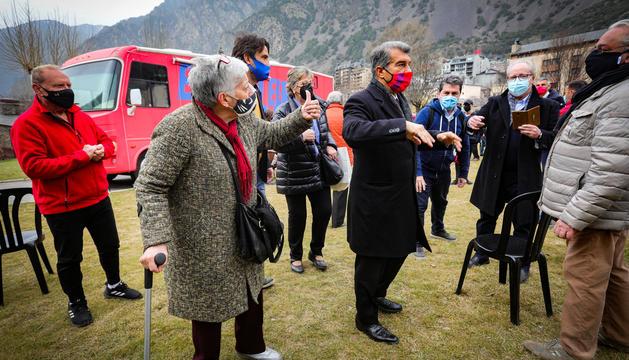 Joan Laporta a l'acte de campanya celebrat al Parc Central d'Andorra la Vella.