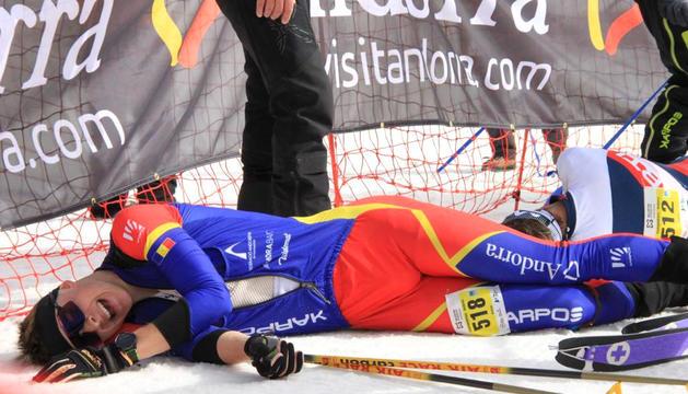 Oriol Olm, exhaust, després de finalitzar la vertical sub-18.