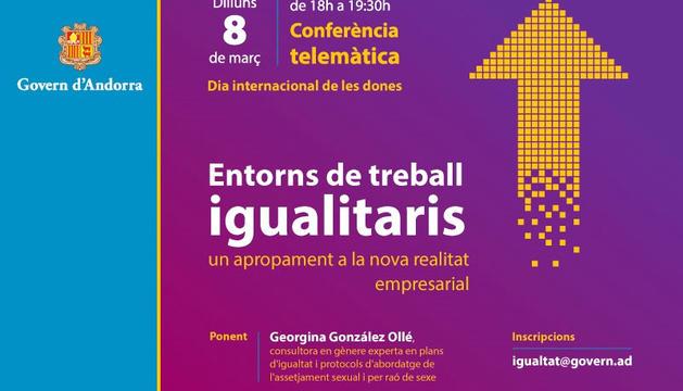 La conferència telemàtica que se celebrarà dilluns.