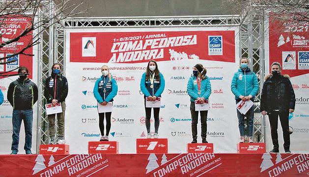 Podi femení sub-23 de la cursa individual, amb Laia Sebastià, primera per l'esquerra.