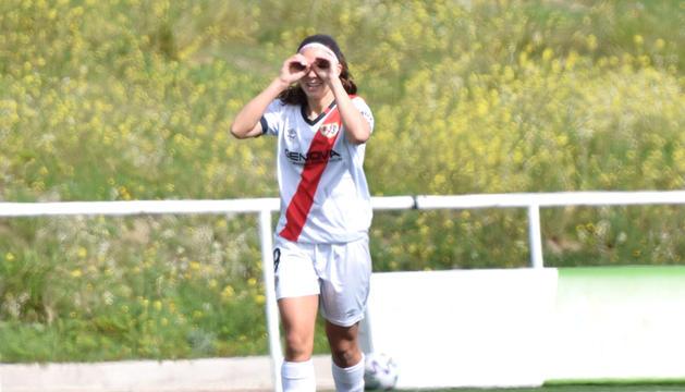 Tere Morató celebrant el gol contra l'Athletic de Bilbao.