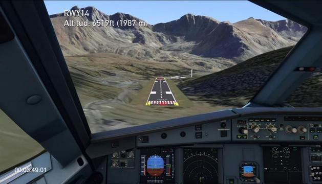 La Cambra va presentar ahir la simulació d'un vol sobrevolant i aterrant a Andorra.