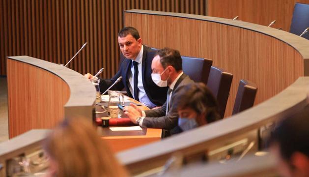 El ministre Jordi Gallardo durant la sessió d'avui al Consell