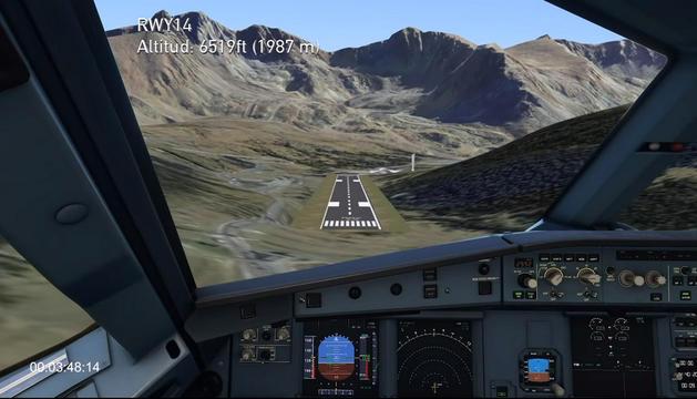 Simulació d'un avió aterrant a l'aeroport de Grau Roig.