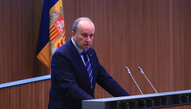El ministre de Justícia i Interior, Josep Maria Rossell, durant el Consell d'avui