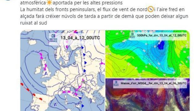 Previsió de pluja per a demà al sud del país