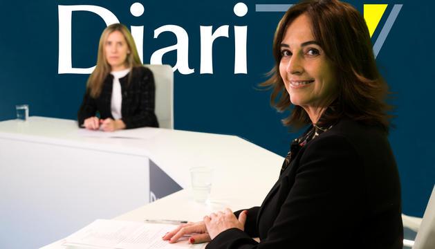 La presidenta dels comerciants de l'Eix Central, Sònia Yebra, al plató de Diari TV.