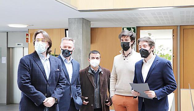 Els consellers Naudi, Costa, Alís, Enseñat i Padreny, ahir al Consell General.