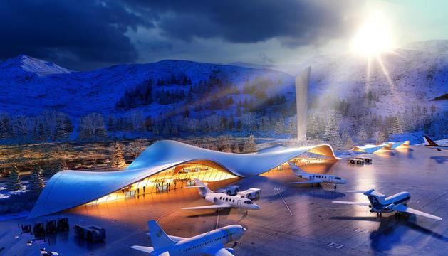 Recreació del projecte de l'aeroport de la Cambra.