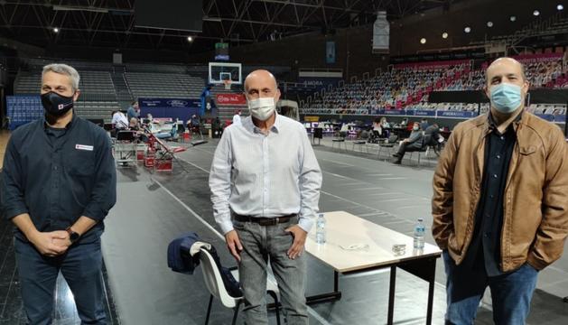 Jordi Fernández, Joan Martínez Benazet i Gorka Aixàs, al Poliesportiu.