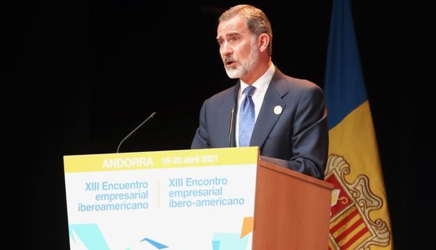 Felip VI, durant la seva intervenció a la cloenda de la Trobada empresarial iberoamericana
