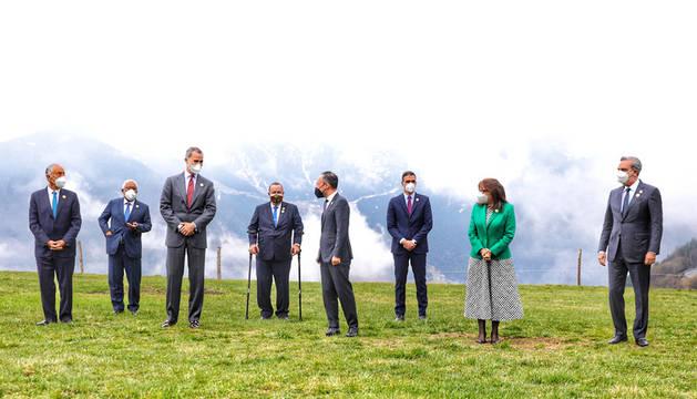 Els caps d'Estat i de Govern i la secretària iberoamericana que han estat físicament a la Cimera.