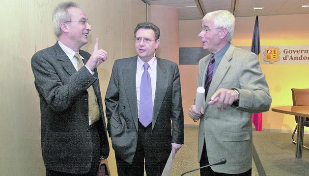 Gerard Claret, Josep Peralba i Enric Pujal el dia de la creació de la Fundació ONCA