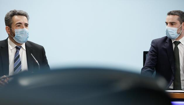 Eric Jover i Marc Ballestà, durant la roda de premsa d'aquesta tarda.