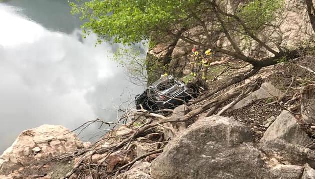 Accident a la C-14 a Coll de Nargó, a tocar del pantà d'Oliana.