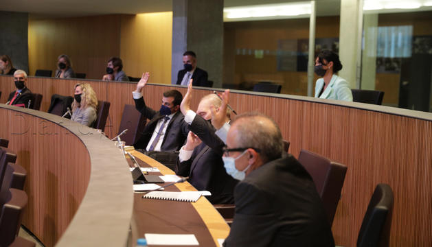 Els consellers de terceravia, votant per l'abstenció.