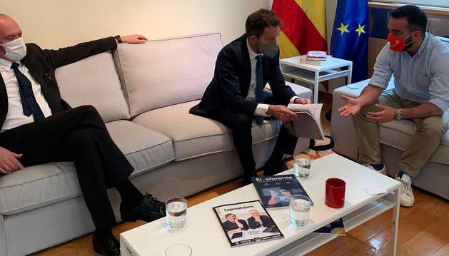 Miró, López i Polo en la reunió a la Moncloa, ahir.