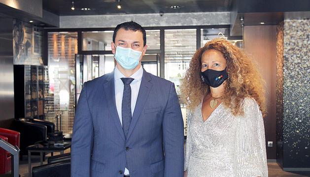 El ministre Gallardo amb Marie-Laure Will, ahir a l'Art Hotel