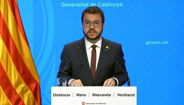 El vicepresident de la Generalitat en funcions, Pere Aragonès, durant la roda de premsa d'aquest matí