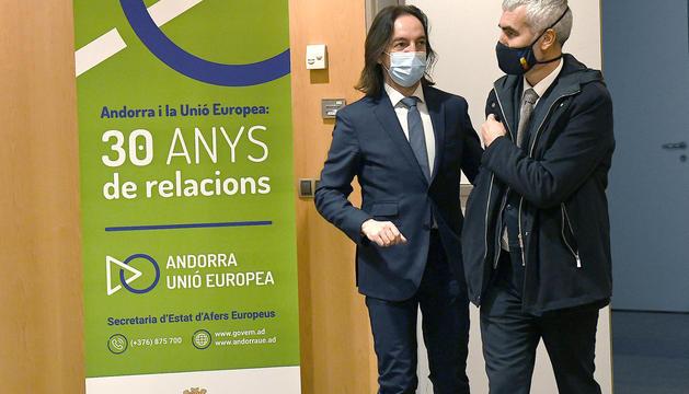 El secretari d'Estat d'Afers Europeus, Landry Riba, i el conseller general Marc Magallón.