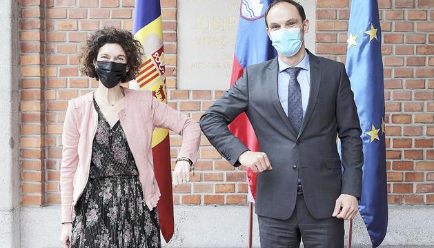La ministra Maria Ubach i el seu homòleg Anze Logar.