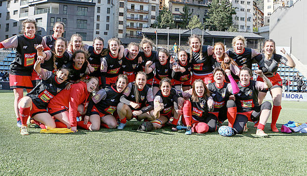 L'equip, després de l'últim partit de lliga.