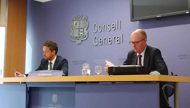 Pere López i Quim Miró en la roda de premsa d'aquest matí