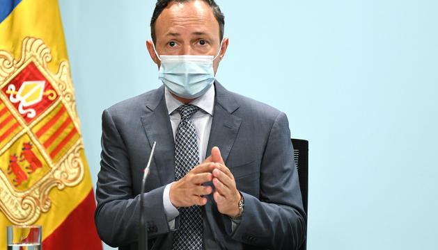 El cap de Govern, Xavier Espot, en la roda de premsa d'aquesta tarda.